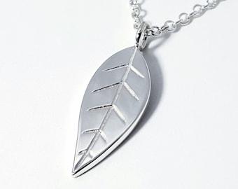 Sterling Silver Leaf Pendant - Sterling Silver Leaf Necklace, Sterling Leaf Necklace, Nature Necklace, Nature Pendant, Tree Necklace
