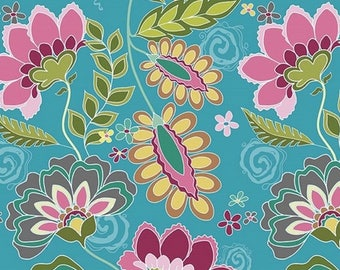 Fabric flowers, fabric by Riley Blake fabric patchwork blue Fantine in coupon