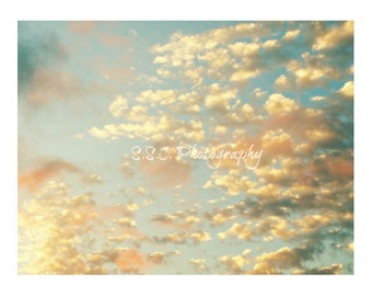 Cloud photo. Pastel. Dreamy sky. gold. pale. blue. nature photography. nursery decor