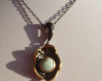 Necklace, Chain blossom, flower with Larimar