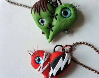 Frankenstein's Monster and His Bride necklace pair