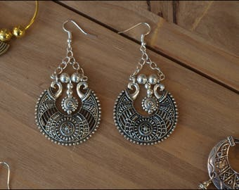 Tibetan Silver earrings inspired Hmong fasteners 925 Silver