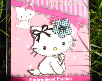 Fusible to apply white bow cat blue