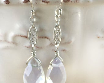 Earrings - White Opalite and Lace