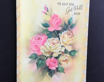 Vintage (Unused)  Get Well Greeting Card, yellow & pink roses bouquet, Quality Crest