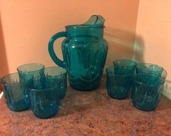 Set of Eight (8) Vintage 1960s Anchor Hocking Aquamarine Blue Tulip Rocks Glasses and Pitcher