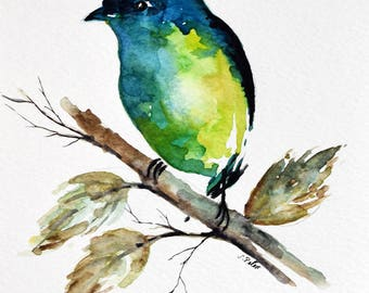 ORIGINAL Watercolor Bird Painting, Green Colorful Bird Painting 6x8 inch