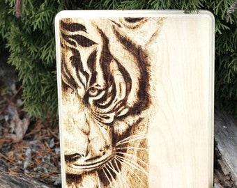 Wood-burned wall art -TIGER