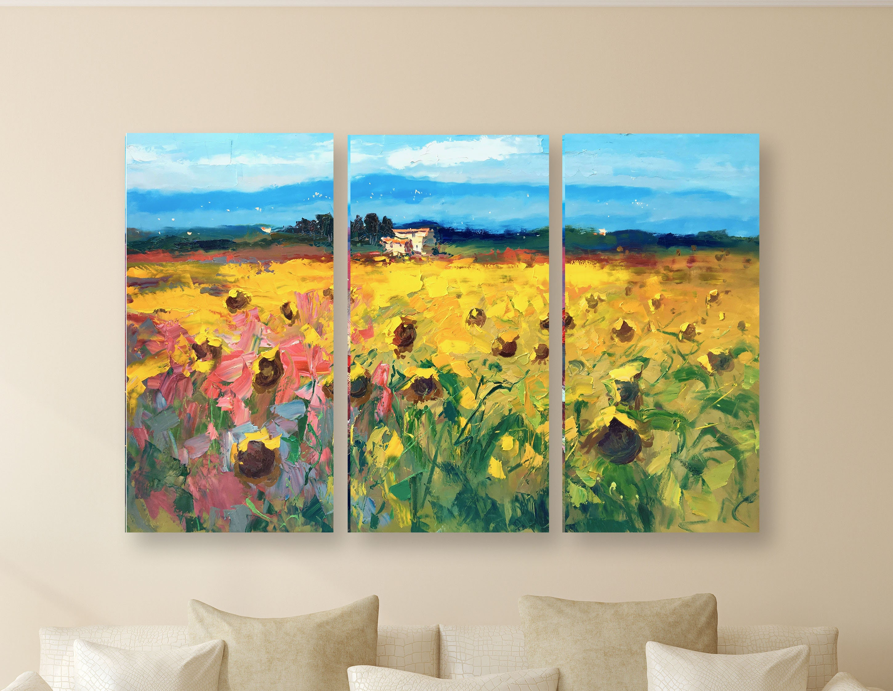 Landscape Set Abstract Art Set Sunflower Wall Art Set
