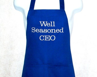 Well Seasoned Apron, CEO, CFO, Boss, Retirement, Custom Personalized Gift,  With Name,  No Shipping Fee,  Ships Today, AGFT 525