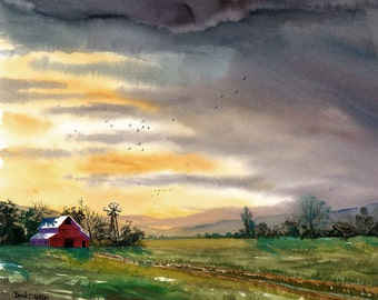 Barn Painting Watercolor landscape Painting Sunset PRINT  trees Country road art reproduction americana 11x14 GICLEE