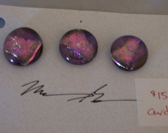 Dichroic Glass Buttons Pink with Purple gold Highlights set of 3, made by Geddes Studio
