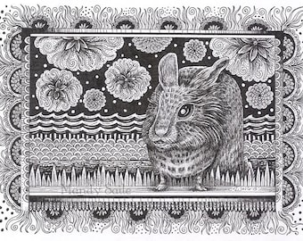 "Rabbit Ink Drawing 16 - a whimsical 8 x 10"" black & white ink pen ART PRINT of a sweet lionhead rabbit sitting by a river with flowers"