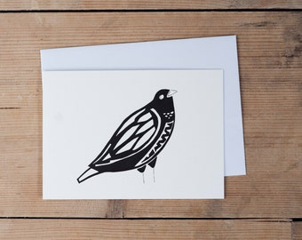 Black and white bird card - A6 - All occasions