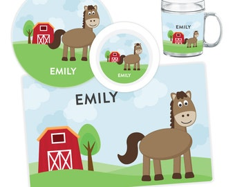 Horse Plate, Bowl, Mug or Placemat - Horse Dinnerware Set - Personalized Plate for Kids - Childrens Melamine Plates - Tableware Set