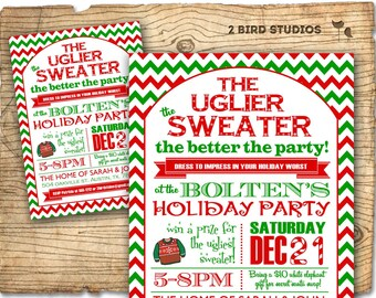 Holiday party invitation - Ugly Sweater Christmas party invitation - Adult holiday party invite