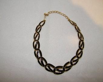 Vintage Trifari Black Enamel Link Choker Necklace