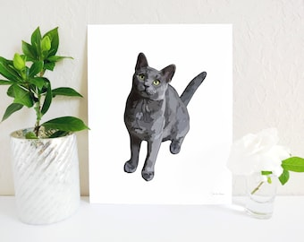 Russian Blue Cat Art Print, Cat Painting, Russian Blue Gift, Cat Lover Gift, Cat Art Print, Cat Memorial, Grey Cat Print, Cat Lady Gift