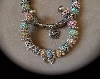 Mother & Child Bracelets, Matching Bracelets, European Cuff Bracelets, Silver Cuffs, Rhinestone Bead Charm Bracelets, Wedding, Mother's Day