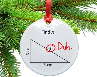 Math Find X Funny  Ceramic Christmas Tree Ornament