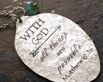 With God, All Things Are Possible Necklace,  Matthew 19:26, Religious Jewelry, scripture jewelry, Gift for Women, Christian Womans Gift