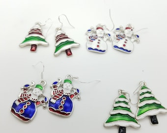 Enamel Snowman or Tree Dangle Earrings with Silver-Plated French Wires - Choose From 4 Styles