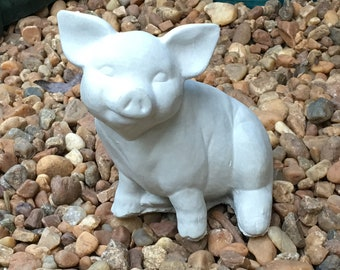Cement Statue Sitting Pig