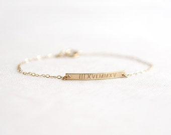 Roman Numeral Bracelet   Wedding Date Bracelet   Gold Bar Bracelet   Personalized Bar Bracelet