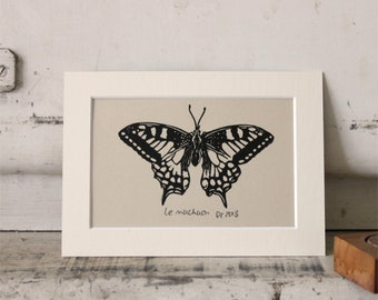 Butterfly linocut print with off-white mat, Machaon, original print, hand painted, signed and dated, unframed