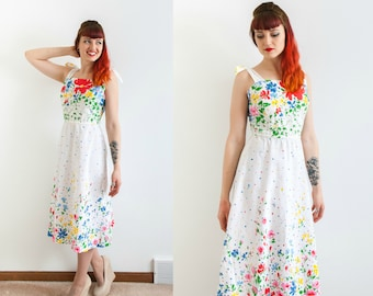 1970s white cotton sundress with colorful floral print & tie straps