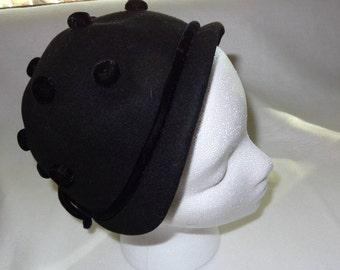 Vintage 40's Black Merrimac Wool Cloche