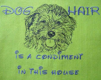 Goldendoodle - Embroidered Towel -Dog Hair is a Condiment - Tea Towel - Kitchen Towel - Dish Towel - Home Decor - Goldendoodle