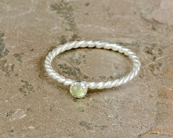 Dainty Gemstone Twisted Wire Ring in Sterling Silver with Green Peridot for Stacking and Delicate Statements - RG456