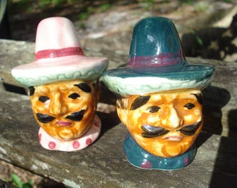 Vintage Mexican Men Salt and Pepper Shakers