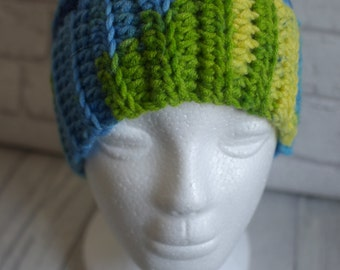 Made to Order Ponytail hat, messy bun hat, crochet, blues, greens,  joggers,