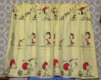 1970's yellow cotton Peanuts Snoopy Woodstock cartoon strip character 42 inch long pair curtains kid's bedroom playroom baseball football #1