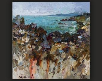 Oil painting original Seashore Coastal Landscape painting Impasto painting Seascape painting Sea shore water painting Coast on canvas