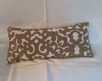 Beige & White Ornate Pillow