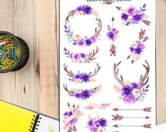 Watercolour Purple Flowers Garland Planner Stickers (S-146)