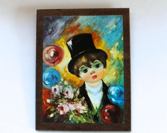 Vintage 1960's Big Sad Eyed Clown Kid Art Print Keane-Inspired Print on Masonite Wall Plaque! Rare!