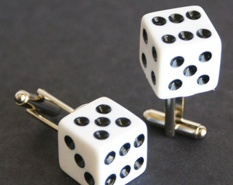 White 6 Sided Dice Cufflinks Free gift bag Unique Wedding