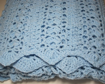 Crocheted Baby Boy, Baby Girl, Lacy Shells, Baby Afghan, Baby Blanket, Crib Size, Toddler