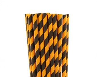 Black and Orange Striped Paper Straws-Orange Straws-Striped Straws- Black Straws-Halloween Party Straws-Autumn Party-Fall Carnival Straws