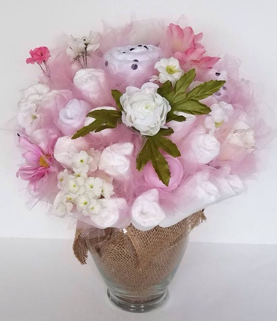 Garden diaper bouquet rustic shower centerpiece baby