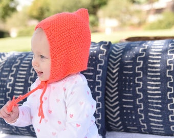 Baby Pixie Bonnet in Neon Coral