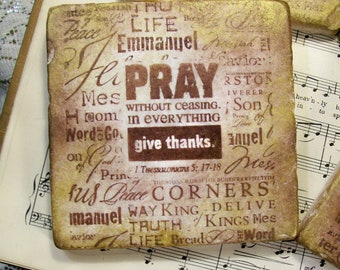 1 Thessalonians 5:17-18 Scripture, Antiqued Christian Coasters, Names of Christ Coaster Set of 4, Travertine Coasters