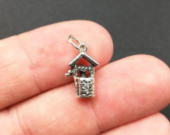 3D Sterling Silver Wishing Well Charm, .925 Silver, DIY, Bracelet Charms, (C508)