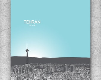 Tehran Iran Skyline Poster / Home or Office Wall Art Poster / Any City or Landmark