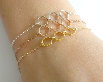 Hexagon Bracelet, Honeycomb gold bracelet, Bridesmaid Layering Bracelet, Silver Stacking Three sisters bracelet