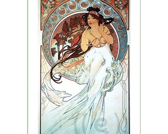 fabric panel - painting by Alphonse Mucha (27). For sewing, patchwork, quilting.